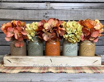 FALL MASON Jar Decor Thanksgiving Centerpiece, Wood Tray + 5 Pint Ball Jars, Fall Table Decor, Housewarming Gift, Kitchen Table Centerpiece
