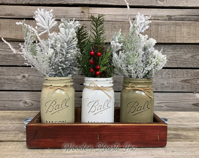 Mason Jar Centerpieces CHRISTMAS HOLIDAY Tray with Jars, Wood Tray + 3 Pint Holiday Jars, Xmas Gift, Kitchen Centerpiece, (Florals optional)