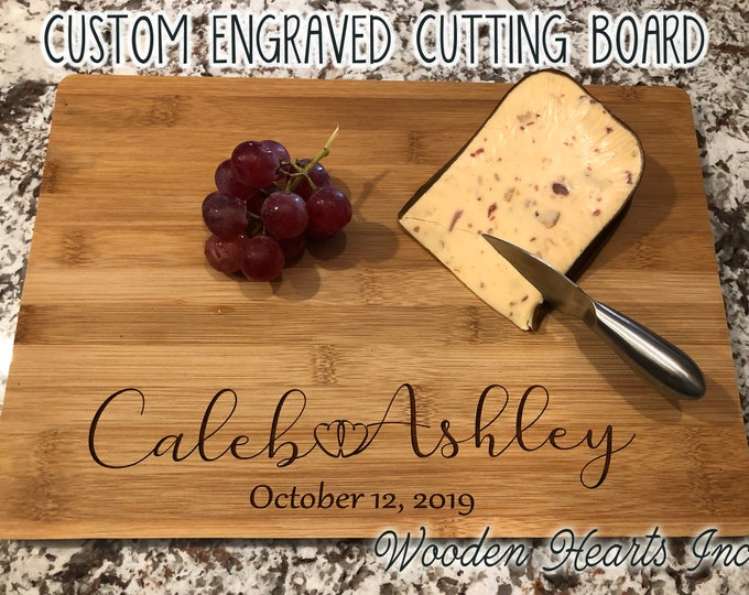 CUTTING BOARD Personalized Engraved Custom Trivet Quality Wood Wedding Housewarming Anniversary Gift Family Name Established Date Year Bride