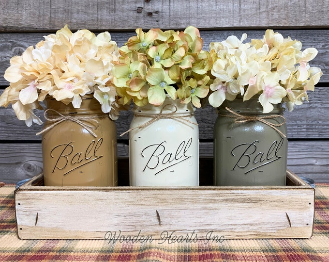 FALL MASON Jar Decor for Thanksgiving Centerpiece, Antique Wood Tray + 3 Painted Pint Jars, Kitchen Table Centerpiece, (Flowers optional)