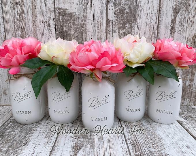WEDDING DECOR Mason Jar Head Table Distressed Ball QUART Centerpiece Bridal Baby Shower White Gray Pink *Peony / Hydrangea Flower Optional