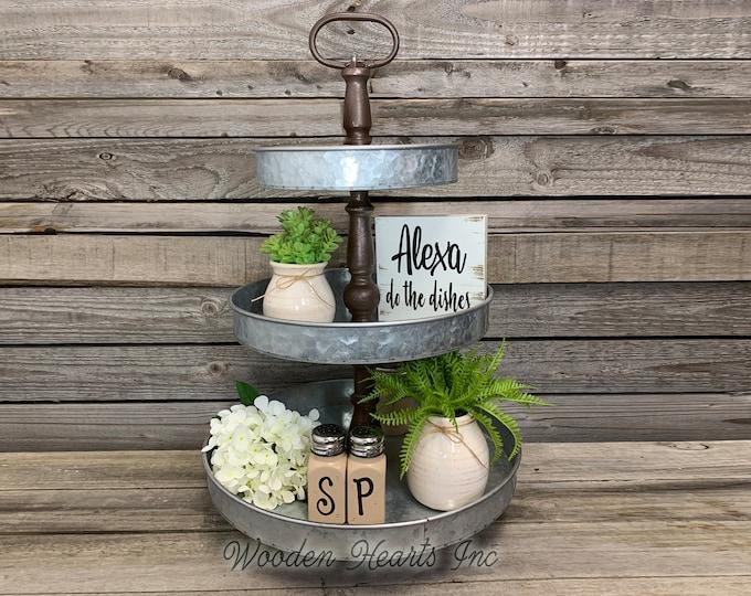 3 Tiered Stand Galvanized Metal Kitchen Bathroom Decorative Display Tray, Makeup Fruit Veggies Organizer, Country Farmhouse Cupcake Holder