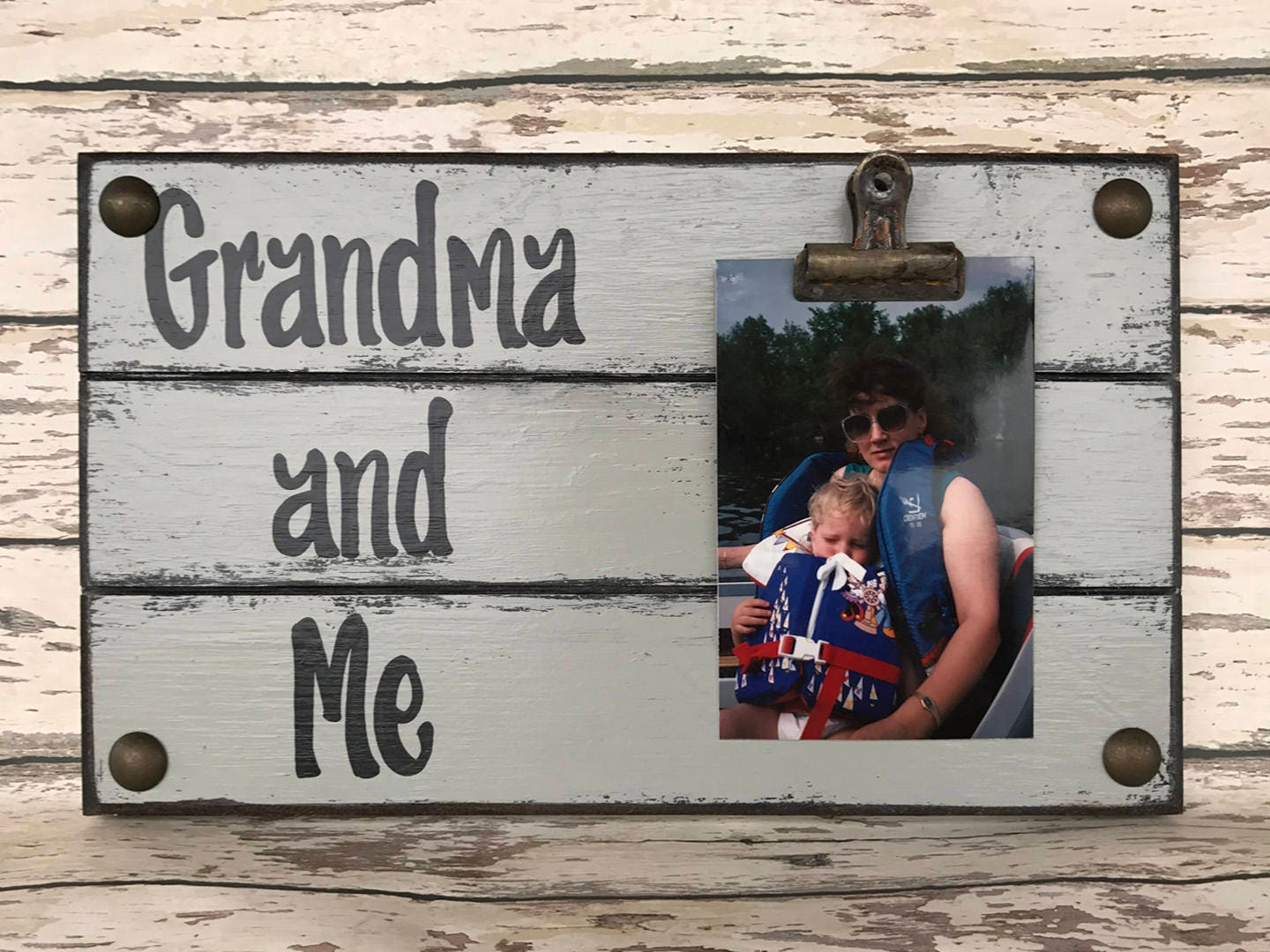 PHOTO HOLDER Grandma and Me Picture Wall Frame Reclaimed Sign with ...
