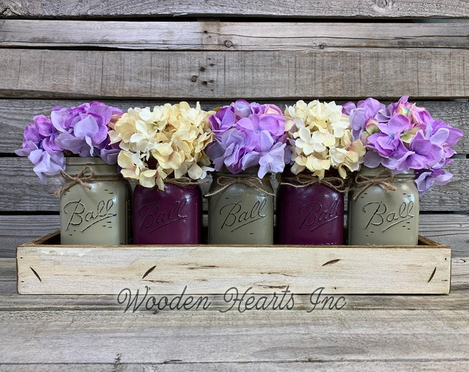 MASON Jar Decor Table Centerpiece (Flowers optional) -Antique TRAY with Handles 5 Ball Painted Pint Jars Distressed Wood Purple, Kitchen