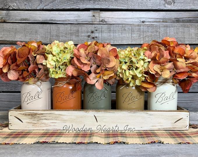 FALL MASON Jar Decor Thanksgiving Centerpiece, Tray +5 Ball Jars, Kitchen Table Centerpiece, Fall Table Decor, Housewarming Gift, Fall Decor