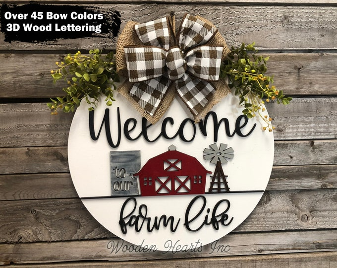 """FARM Sign Wood WELCOME to our Farm Life, Front Door Hanger 16"""" Round Stripe 3D Wreath Bow Housewarming Wedding Anniversary Windmill Gift Dad"""