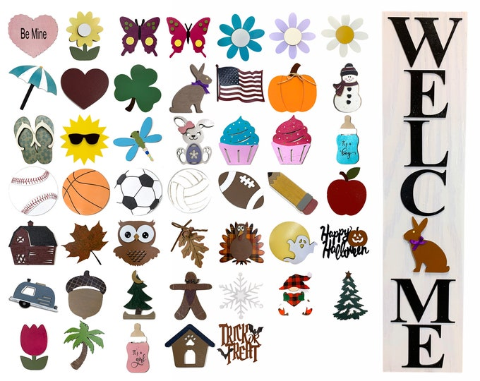 Interchangeable WELCOME Sign with 6 SEASON CHANGER Pieces *Vertical Outdoor *Heart Clover Bunny Flag Pumpkin Snowman *Spring Easter Holiday