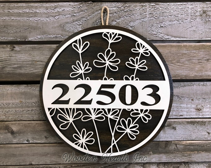 """HOUSE NUMBER Sign, Wood Wall Mount 12"""" Circle, Welcome 3D, Custom Street Address, Home Decor Round, Housewarming Gift, Father's Day Gift"""