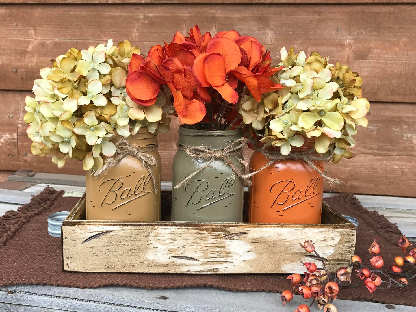 Fall Mason Jars Decor For Thanksgiving Centerpiece
