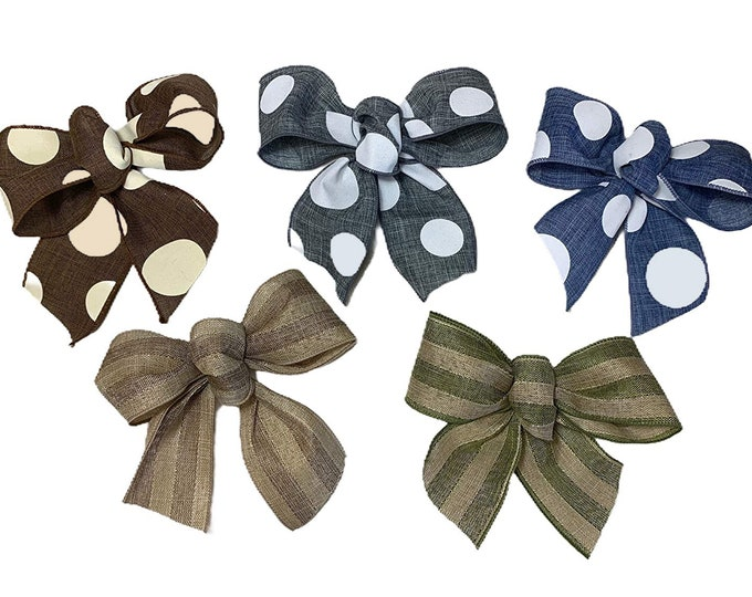 """SMALL BOW for 12"""" Round Wreath *Easily change the bow! *Striped, Polkadot, Plaid, Everyday, Holiday"""
