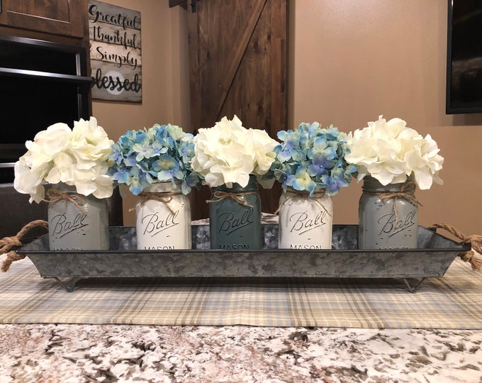 TRAY METAL Large with ROPE Handles, Create a kitchen table Centerpiece, Kitchen Farmhouse Decor, Long Metal Tray, Farmhouse Tray