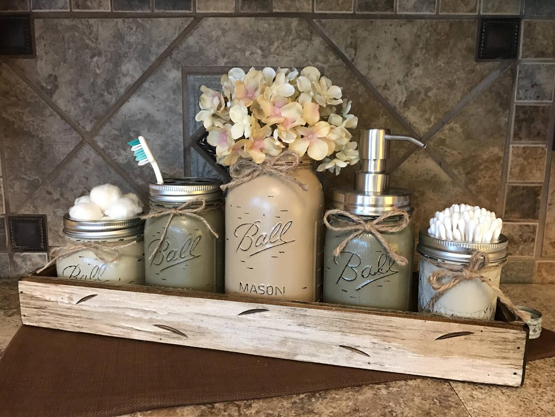 MASON Jar Bathroom Decor Antique White TRAY SET, Cotton ...