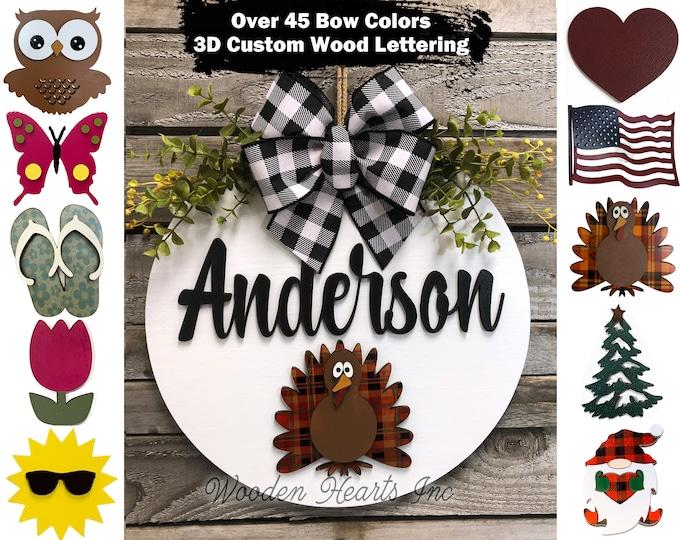 Custom Season Changer Door Hanger Welcome Wreath porch Front Door Family Name Interchangeable Personalized Christmas Housewarming Gift Heart