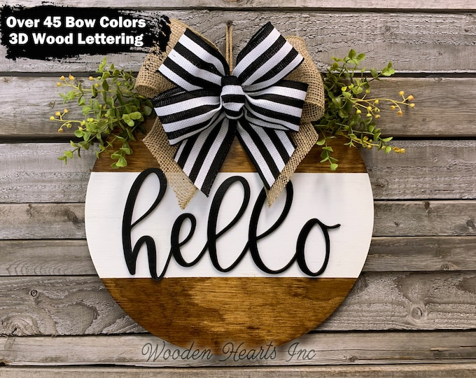 """HELLO Sign for Front Door Hanger 16"""" Round with STRIPE, 3D Wood Wreath + Bow, Everyday Welcome Wall Fall Sign, Fall Decor, Housewarming Gift"""