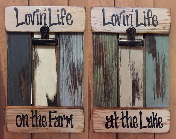 PICTURE FRAME Photo SIGN Reclaimed Lovin Life at the Lake on the Farm Farmhouse Wall Decor Cream Blue Green Wood Fisherman Farmer Gift Home