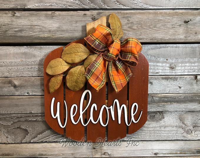 FALL Decor hanger Pallet PUMPKIN sign Wreath WELCOME or Hello Porch Wood 3D Wood Custom Bow Leaves Autumn White Orange