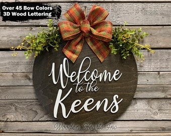 """Personalized Door Hanger Welcome Wreath, Welcome to the (custom last name) 3D Wooden, Bow Greenery Front Decor Everyday 16"""" Round Sign White"""