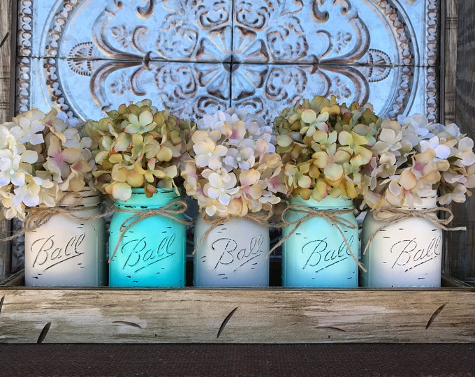 MASON Jar Kitchen Decor Centerpiece (Flowers optional) -Antique TRAY with Reclaimed Handles 5 Ball Canning Painted Pint Jars Distressed Wood