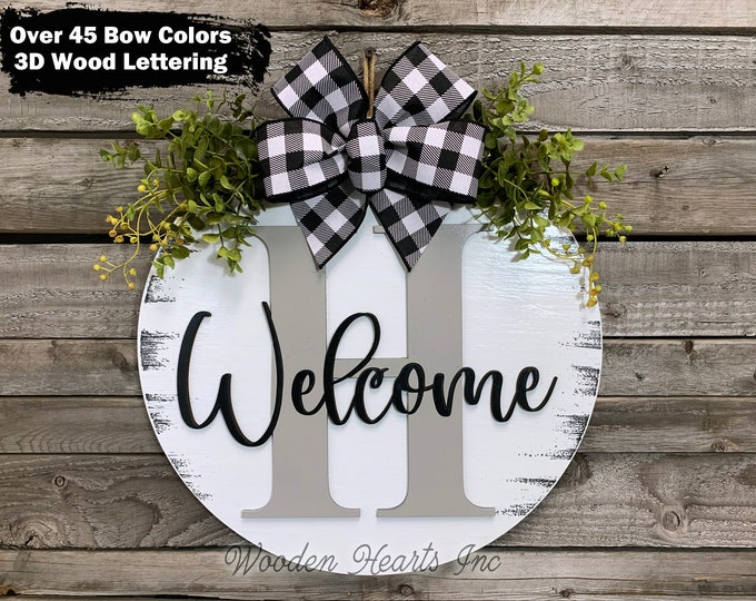 """Fall WELCOME MONOGRAM Letter, Custom Door Hanger, 16"""" Round 3D Wood Name, Welcome Sign Wreath Bow, Housewarming, Personalized Wedding Gift"""