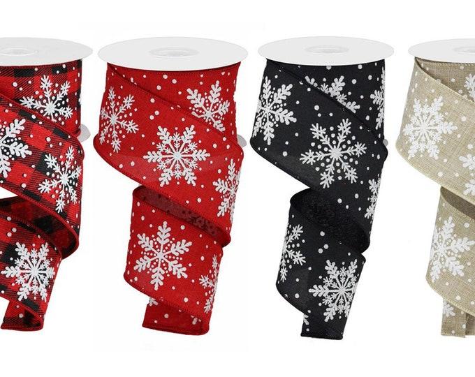 "SNOWFLAKE Glitter RIBBON roll of Wired 2.5"" wide X 10 Yard, Create bows, Red, Buffalo Plaid, Tan, Black, 1 ROLL"