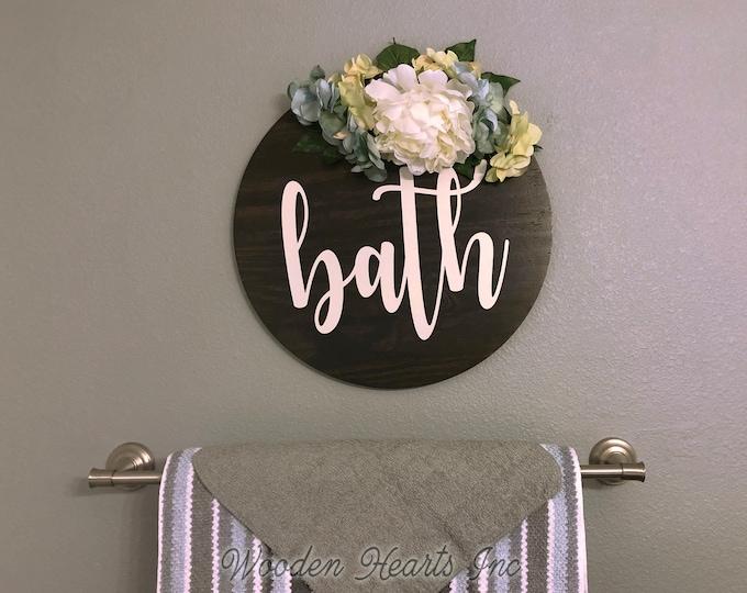"Bathroom Wall Decor Farmhouse BATH 16"" Round Sign Spring Fall Wreath with Flowers Summer Door Decorations Peony Hydrangea Hanging White Gray"