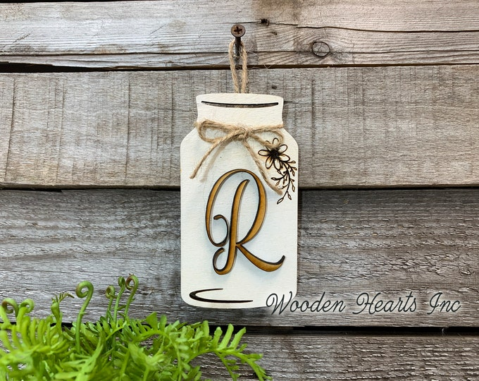 "Mason JAR with 3D LETTER Personalized Mini Hanging Wall Ornament Last Name Family Teacher Wedding Wood Monogram Custom Decor Gift 5"" x 2.75"""