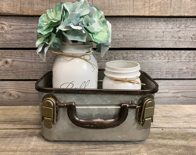 Vintage Decor SMALL Rectangular Storage SUITCASE Trunk (Optional Flower and Jars) *Bathroom Tray Tin Box