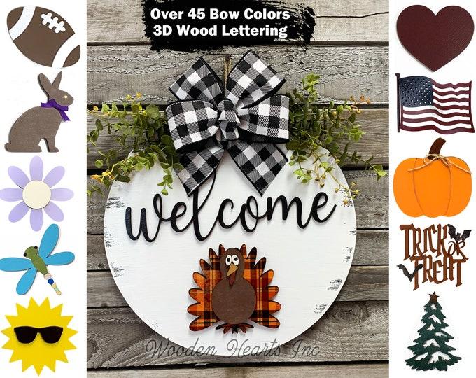 "Thanksgiving Door Hanger  Wreath Year Round Welcome Bow Front Door/Porch Decor + Interchangeable  14"" Sign, Hello Pumpkin Leaf Fall GIFT"