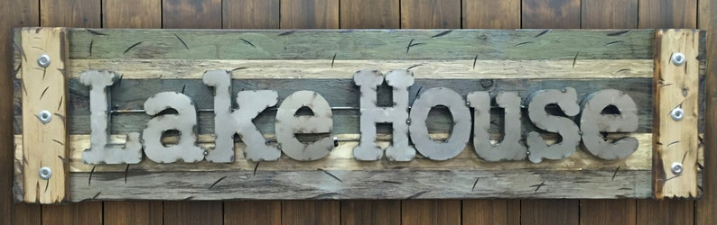 LAKE HOUSE Rustic Sign Reclaimed Shutter Distressed Industrial Navy Blue Green Burgundy Metal Large Pallet Wall Cabin Gift Home Decor Log