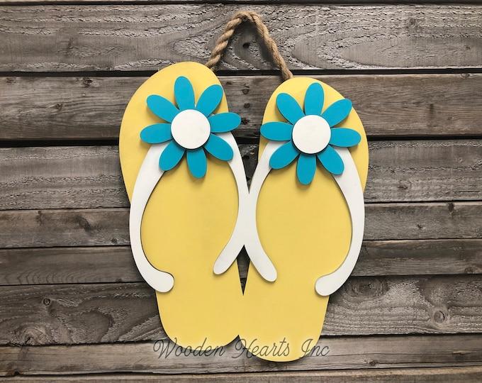 FLIP FLOPS Decor Wall SIGN, Door Hanger, Wood Beach House Ocean Summer Welcome Lake Flip Flop 3D Cutout Shaped Yellow Blue White Flowers