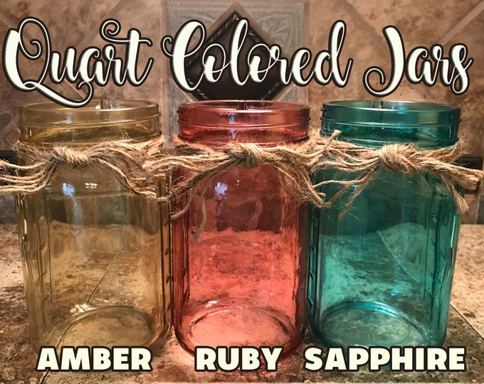 QUART JAR with Twine Decor with Optional Flower Jars Amber Ruby Red Sapphire Blue *Great for Centerpiece Flowers