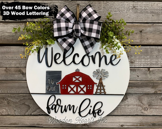 """FARM Sign Wood, WELCOME to our Farm Life, Front Door Hanger 16"""" Round, Windmill Stripe 3D Wreath, Housewarming Wedding Anniversary Dad Gift"""