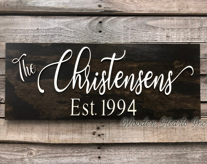Family Name Sign for Home on Wood 3D Established Date CUSTOMIZED  Lettering Welcome PERSONALIZED Wedding Housewarming Gift House 9X23