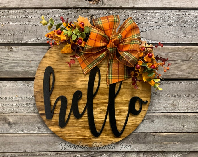 """HELLO FALL Door hanger Wreath, Welcome Sign, Wood Round Wall Sign, 12"""" or 16"""" 3D Wood Lettering, Bow  Leaves, Distressed Fall Decor, Gift"""
