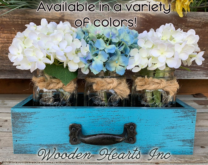 MASON Jar Centerpiece DRAWER Reclaimed Distressed Wood Towel Organizer Box Ball with 3 Canning Jars Crate Caddy Handle Red Blue Cream Teal