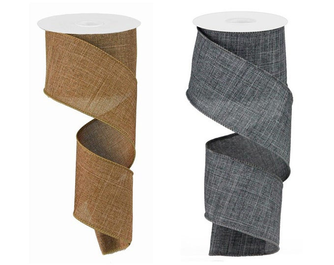 """Faux BURLAP RIBBON roll of Wired 2.5"""" wide X 10 Yard, Create bows, Solid Gray, Tan, 1 ROLL"""