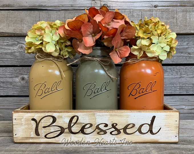 Blessed Tray ENGRAVED, CUSTOM Personalized, Fall Kitchen Table Centerpiece, Painted Pint Mason Jars, wedding gift Name Est Date Give Thanks