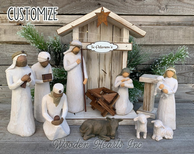 STABLE Nativity CRECHE Fits Willow Tree Fireplace MANTLE Wood *Lighted Christmas Personalized Baby Manger Angel Stand Lights White Brown