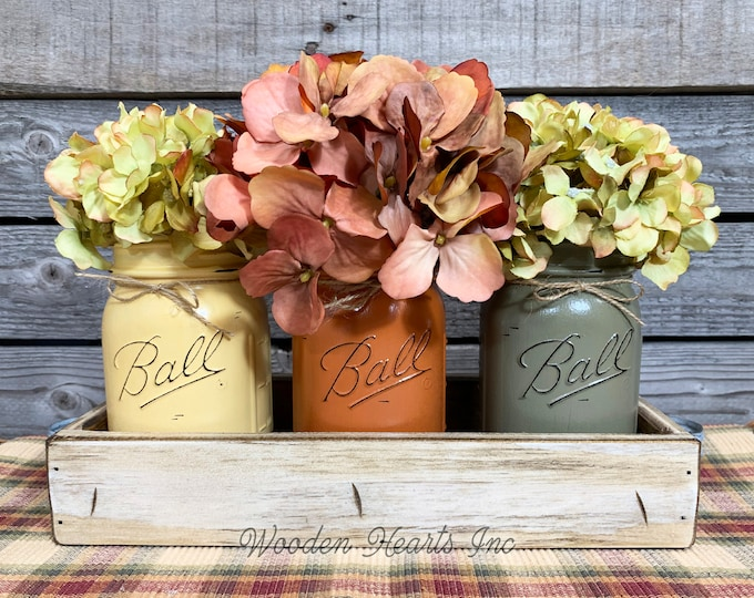 FALL MASON Jars Decor for Thanksgiving Centerpiece, Wood Tray + 3 Ball Jars, Kitchen Table Centerpiece, Table Decor, Gift *Flowers optional