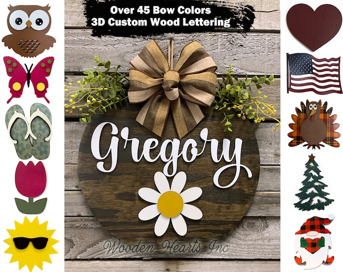 Personalized Interchangeable Door Hanger Welcome Wreath porch Front Door Family Name Season Changer Christmas Housewarming Gift Flower Heart