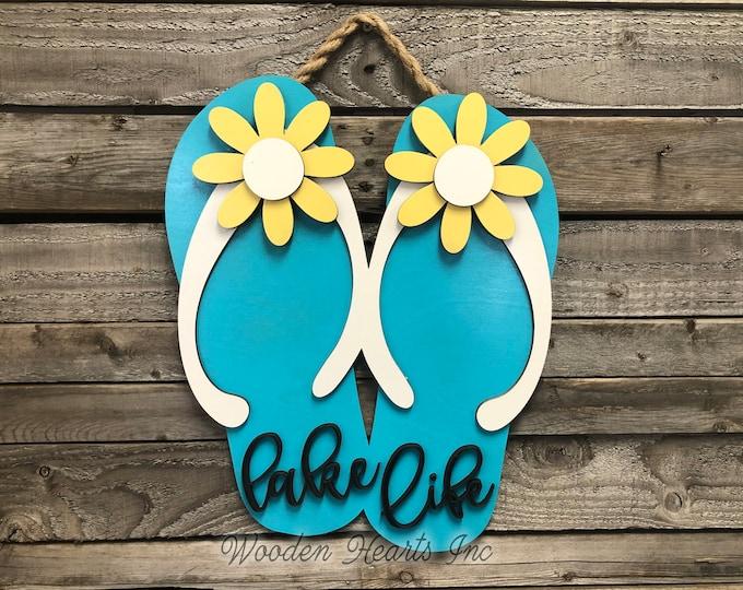 Lake Life FLIP FLOP SIGN Welcome, Door Hanger 3D Wood Wall Beach House Ocean Summer Flip Flops Cutout Shaped Decor Yellow Blue White Flowers