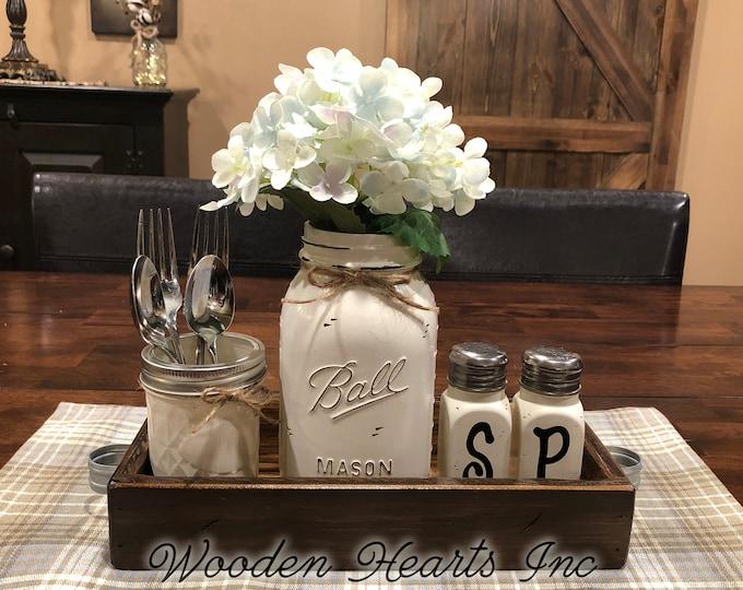 MASON Jar Kitchen 5pc SET in Antique White TRAY, Mini Quilted, Quart Vase + Flower, Salt & Pepper Shakers Ball Jars Distressed Centerpiece
