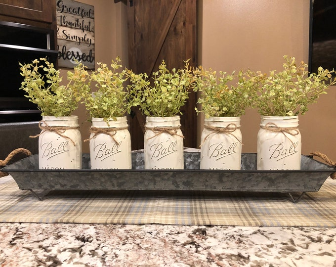 """TRAY METAL Large with ROPE Handles *Farmhouse Reclaimed Rustic Tin Box for Kitchen Table Centerpiece, Candles, Mason Ball Jars 23"""" x 6"""""""