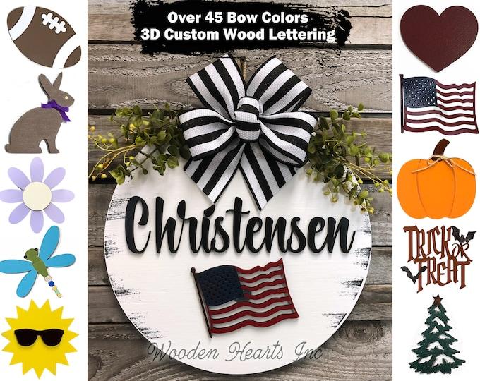 Interchangeable Door Hanger Personalized Welcome Wreath porch Front Door Family Name Season Changer Christmas Housewarming Gift Flower Heart