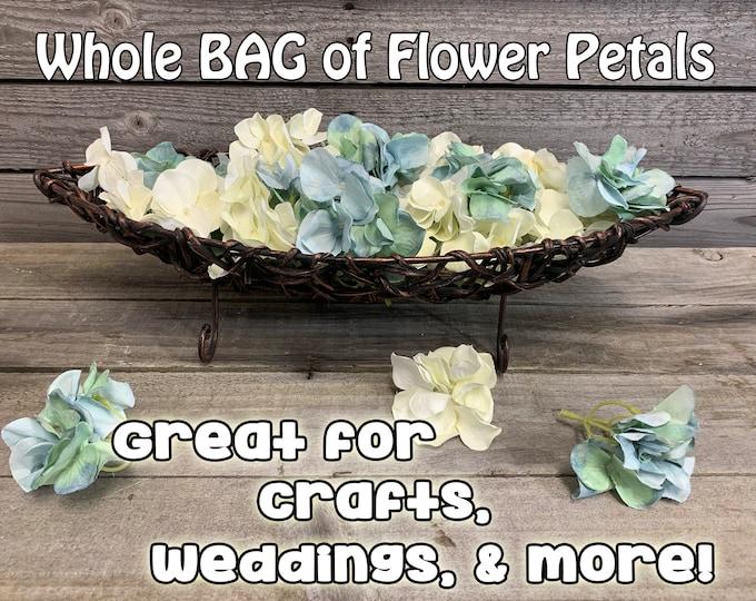 Hydrangea Flower Petals (25 sprigs of petals per bag) Blue, White, Amber, Mint Green, Decorations, Craft Supplies, Wedding, Centerpiece