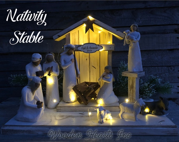 Lighted Wooden Stable Willow Tree Nativity Compatible (LIGHTS are OPTIONAL) Creche *Christmas Decor Personalized Baby Manger Angel Stand