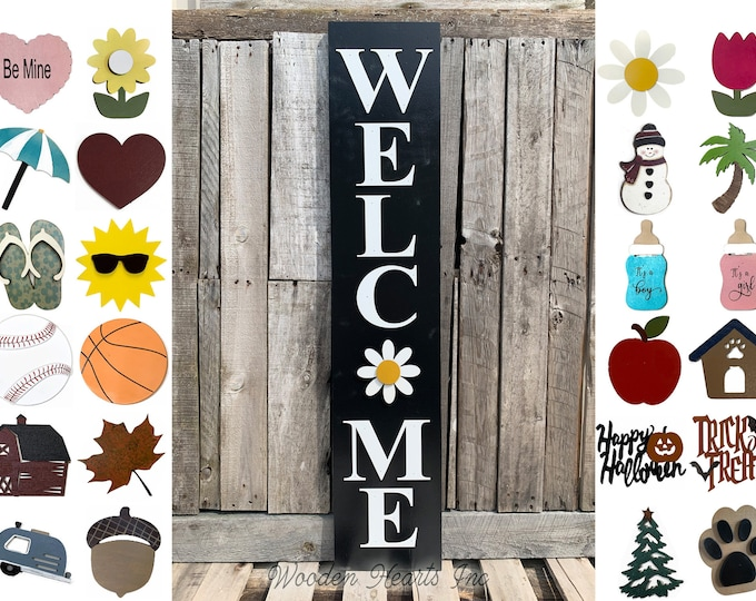 """Interchangeable Welcome Sign 45"""", Large Vertical Porch Sign, Front Door, Seasonal Holiday, Housewarming Gift, Black, heart flower sun owl"""