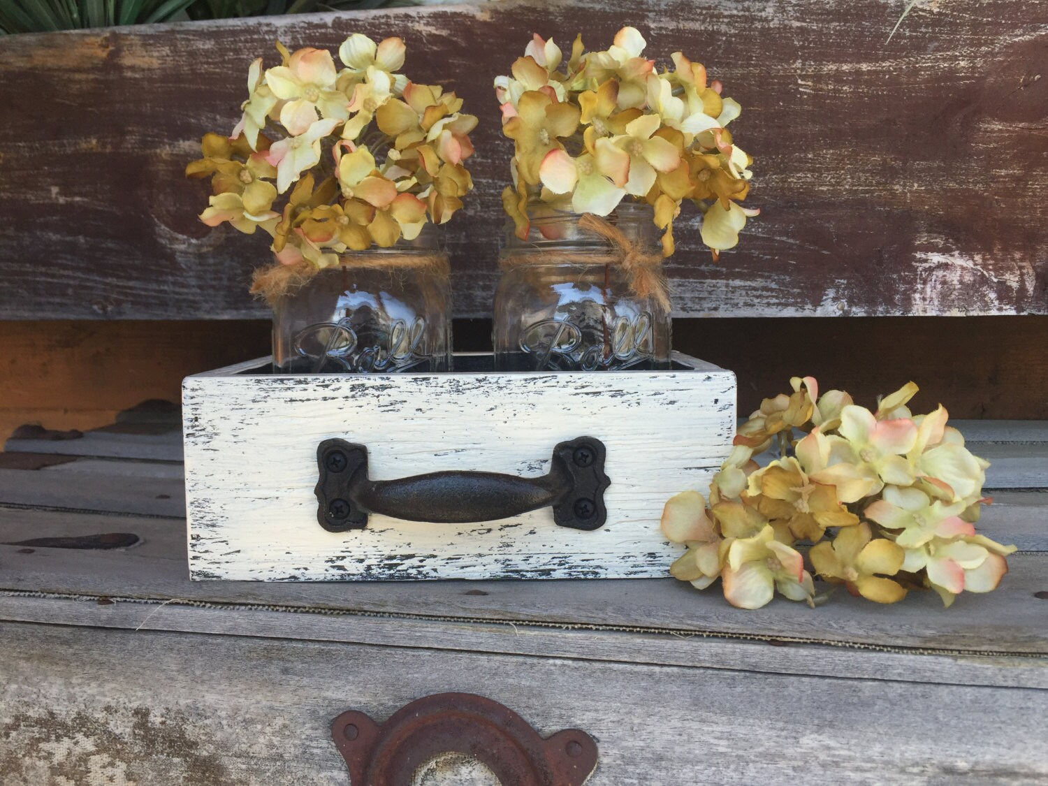 Mason Jar Centerpiece Decor Drawer With 2 Canning Jars Reclaimed