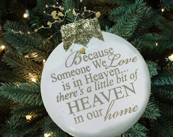 Christmas ORNAMENT ANGEL Someone we love is in Heaven our home looking down Tree In Memory of Bereavement Gift Silver Red White Decor metal