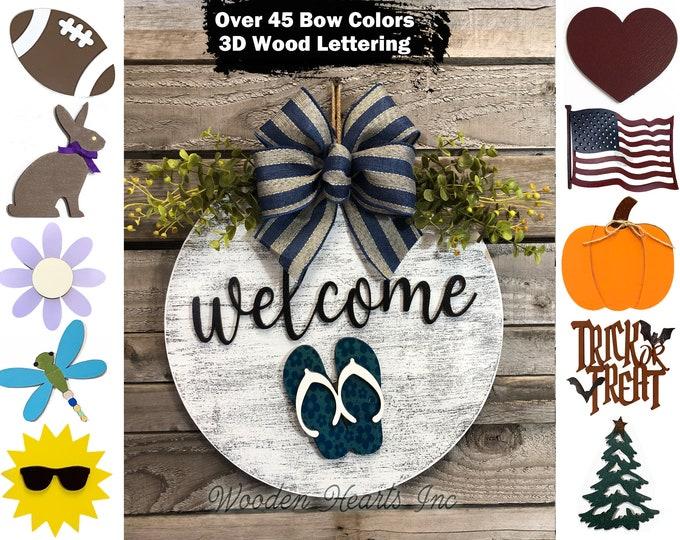 "Welcome Door Hanger sign  Hello Wreath Year Round Bow Front Door Decor + Interchangeable Season Changer Piece 14"" Sign, Fall  Leaf Pumpkin"